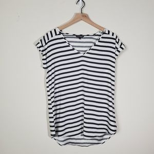 Express Short Sleeve Black and White Top